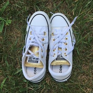 White and gold all star converse Women's 6